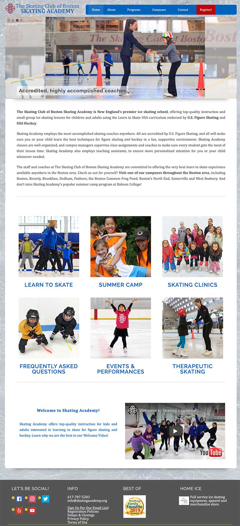 skating academy web home page